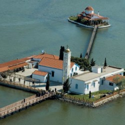 Porto Lagos St Nicolas monastery on 2 islands at Lake Vistonida